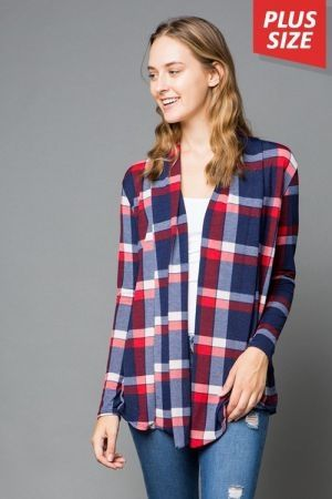 Plus size plaid cardigan with elbow patch